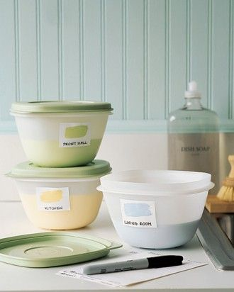 Why haven't I thought of this?!! Use plastic containers with leftovers! Great idea, and saves SO much space!