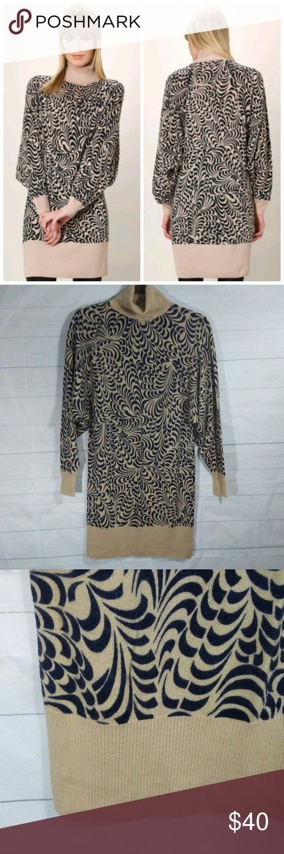 """{French Connection} tunic dress French Connection 100% wool batwing turtleneck jumper tunic dress wear over leggings or pair with knee high boots  Tan /Black  Size  2 Length 32"""" French Connection Dresses"""