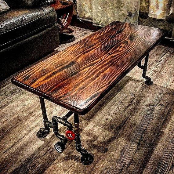 Retro Industrial Rustic Hardwood Coffee Table Steampunk Decor V
