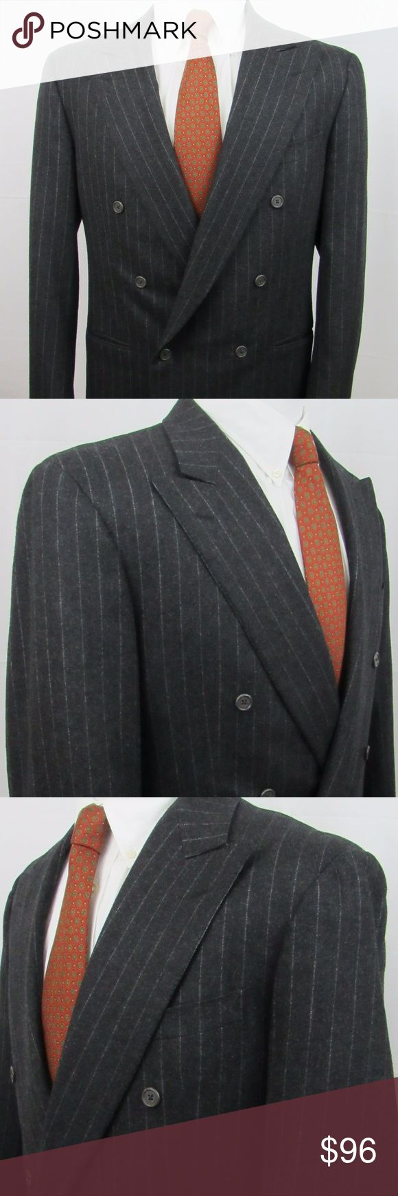 """Zegna 42L charcoal, wool suit made in Switzerland. VERY nice Ermenegildo Zegna classic double breasted 100% wool charcoal & grey striped suit. I don't find flaws but please zoom in throughout to evaluate). Appears to be made in 1990. I'm 6'4"""" (44L) and this fits small on me like I would expect an unaltered 42L to fit (if that helps as a gauge). My best measurements: Coat Shoulder: 20"""" Pit to pit:: 23"""" Length: 31 1/2"""" Sleeve: 34 1/2 (2"""" extra material)  Trousers Waist: 34"""" Rise: 12"""" Inseam…"""