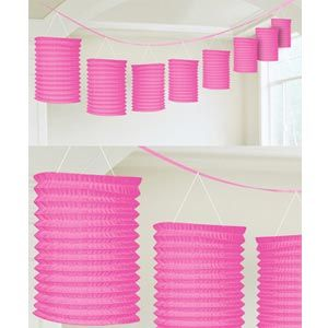 A22055/103 - Lantern Garland Pink. - 3.65m Lantern Garland Pink Contains 8 x paper lanterns (10cm x 16cm) on a garland (3.65m) Please note: approx. 14 day delivery
