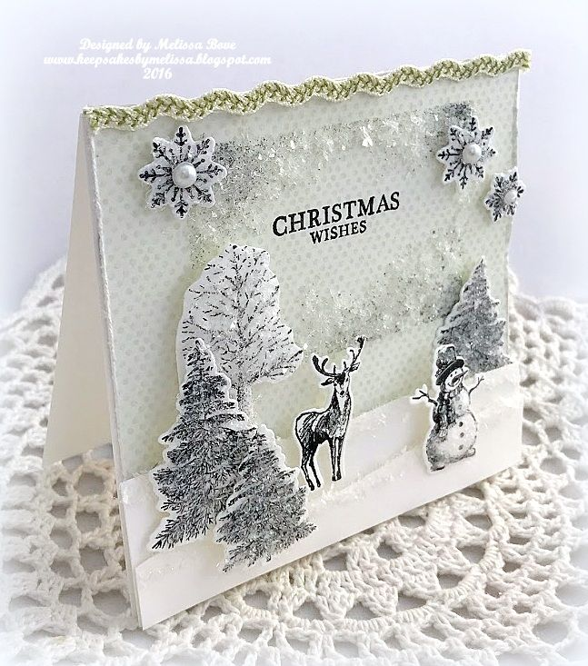 handmade card: Christmas Wishes ... glittery black and white winter scene with popped up snow  drifts for depth ... lovely card!
