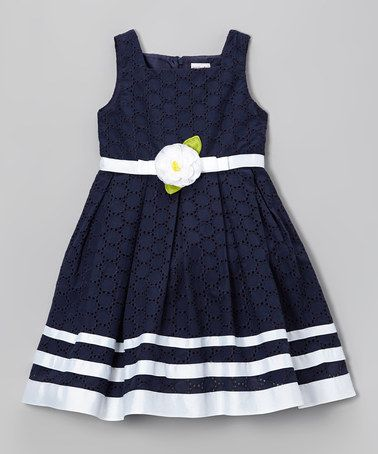 Look at this #zulilyfind! Navy Ribbon Eyelet Dress - Toddler & Girls by Sweet Heart Rose #zulilyfinds