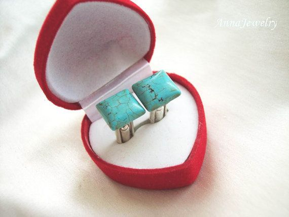 Square Cut Natural Turquoise Cufflinks Scorpio by annajewelry64