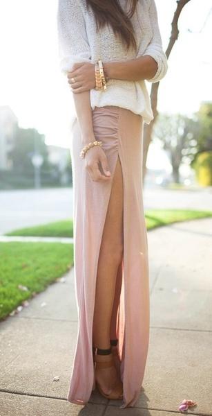 Cute long slit skirt