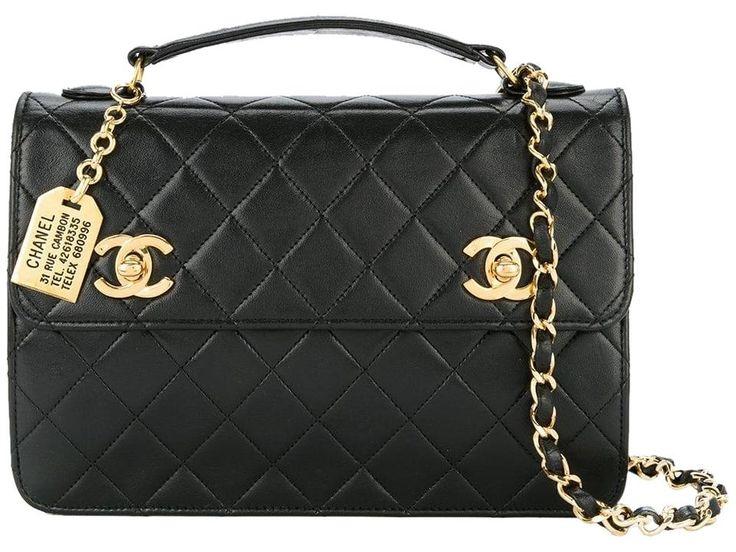 Chanel Shoulder Vintage 24k Cc Turnlock Tote Black Lambskin Leath Lambskin Leather Leather Crossbody Leather Crossbody Bag