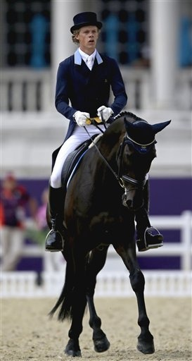 London Olympics Equestrian  July 28Ludvig Svennerstal, of Sweden, and his horse Shamwari, compete during the equestrian eventing dressage phase at the 2012 Summer Olympics, Saturday, July 28, 2012, in London. (AP Photo/David Goldman