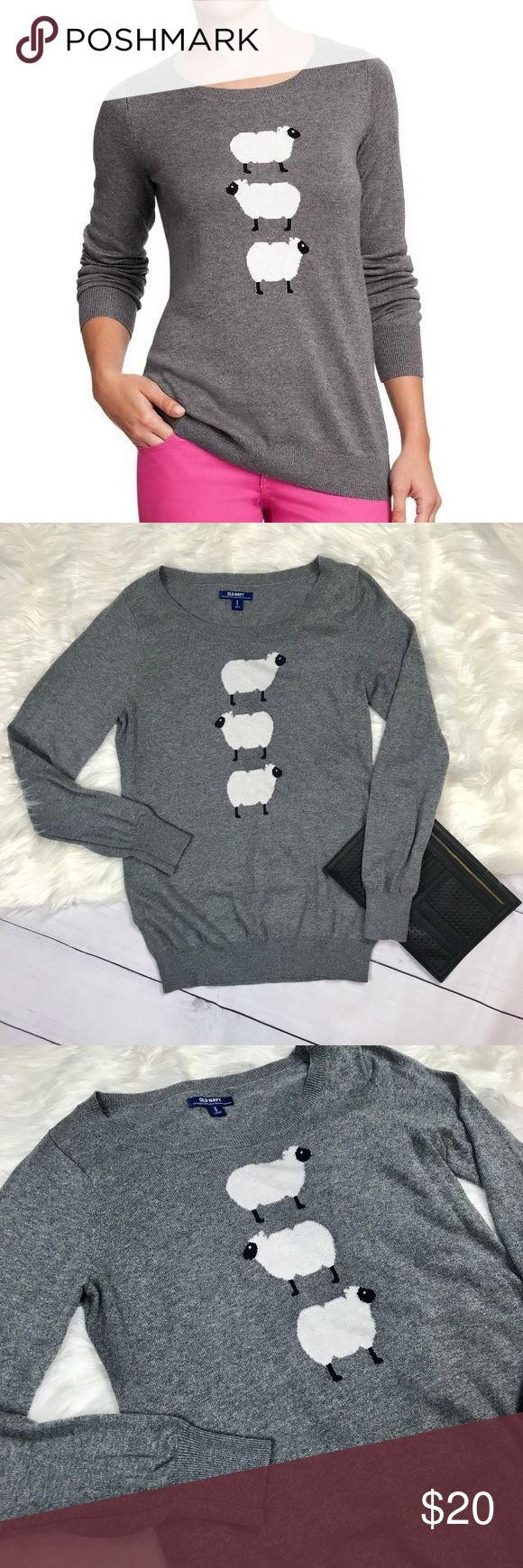 Old Navy Sheep Long Sleeve Old Navy Long sleeve crew top. Thin comfortable sweater material. Cozy, cute and soft. Excellent condition. Womens medium. Cute loose look for a small. Three sheep. Dark heather grey. Cotton and polyester. Pit to pit 18 Length 25  [d8] Old Navy Tops Sweatshirts & Hoodies