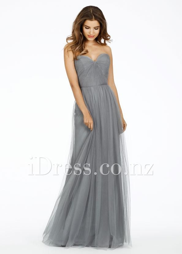 grey strapless sweetheart neck ruched long bridesmaid dress idress.co.nz