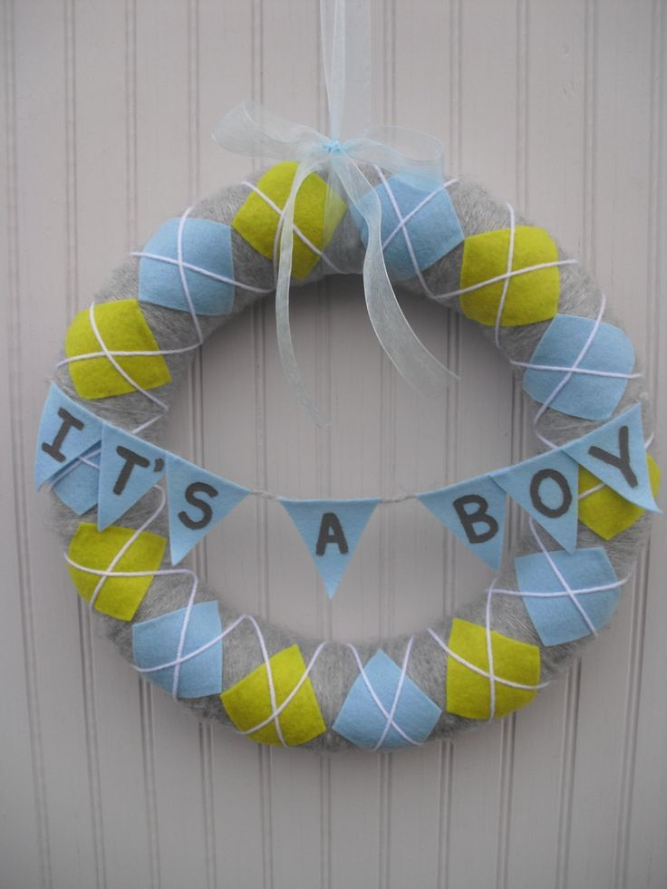 Baby Boy Argile Wreath - I am going to make something similar but with name on it and slightly different colors