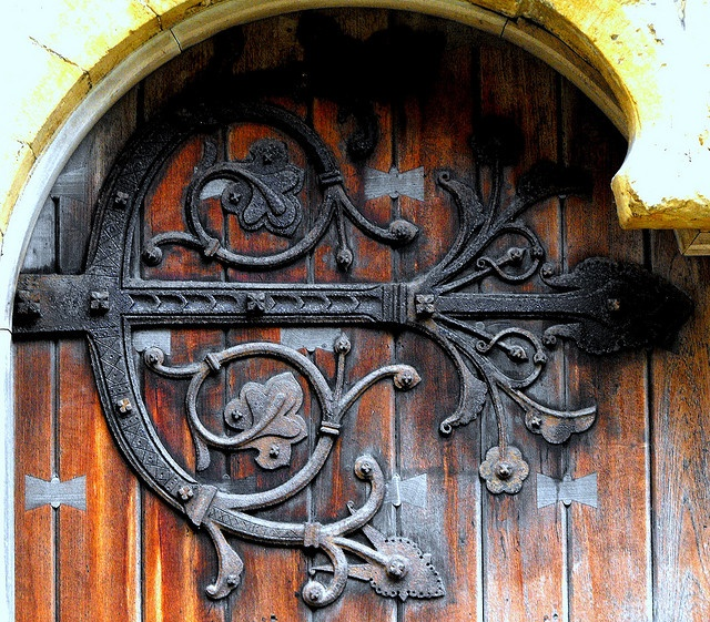 One of the huge decorative hinges on the main west door to Llandaff Cathedral. The building was extensively restored in the century and these probably date ... & 147 best door hinges images on Pinterest | Arquitetura French doors ...