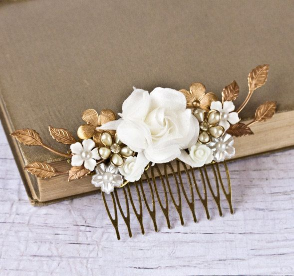 Bridal Hair Piece Wedding Hair Comb Bridal Hair Accessories Vintage Bridal Something Old Shabby Chic Wedding Hair Accessories. $109.00, via Etsy.