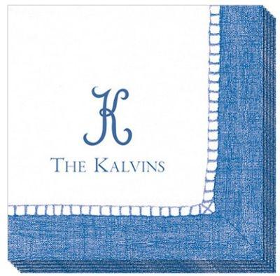 $48 Monogrammed Blue Linen Look Caspari Napkins