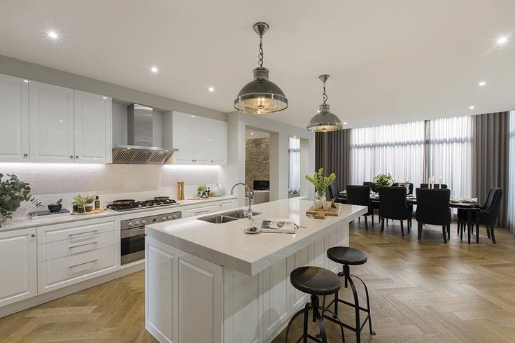 Open plan kitchen in the Brookwater with a Classic Hamptons World of Style.