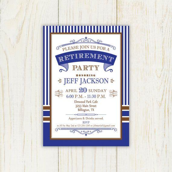 Retirement Invitation Blue And Brown Printable Digital