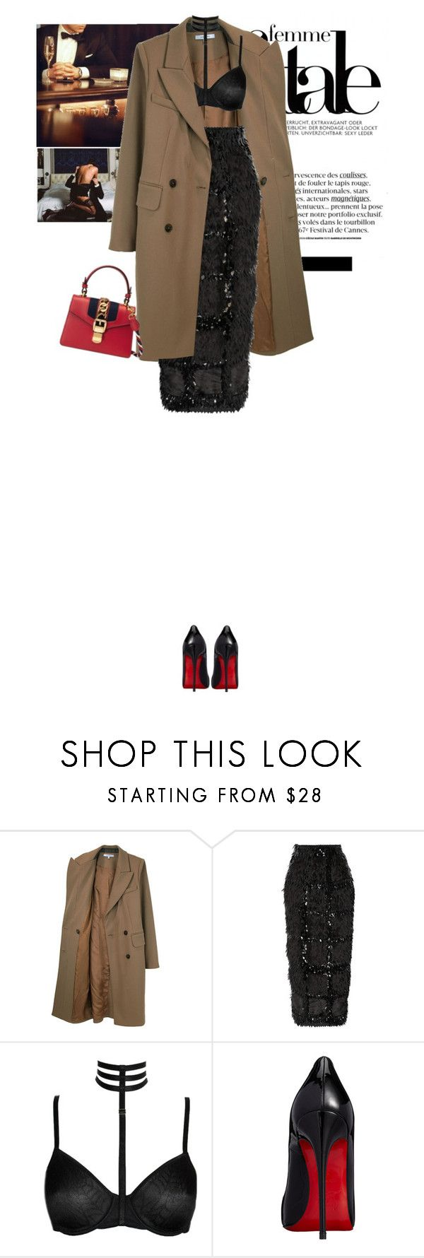 """""""Baby, don't understand why we can't just hold on to each other's hands, this time might be the last I fear, unless I make it all too clear, I need you so. Take these broken wings and learn to fly again."""" by vicky-carter ❤ liked on Polyvore featuring Carven, Roksanda, Christian Louboutin, Gucci, black, Louboutin and gucci"""
