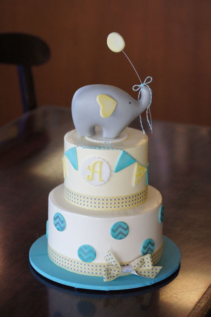 Blue And Yellow Baby Shower Cake With Elephant Topper