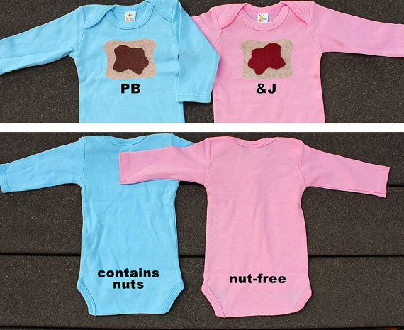 Funny Twin Set of 2. Peanut Butter and Jelly. Contains Nuts and Nut-free! Boy Girl Twin Gift Set. on Etsy, $40.00