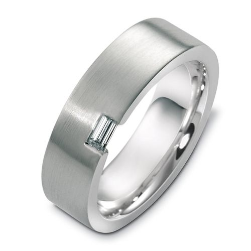 18k White Gold Menu0027s Band Set With One Baguette Diamond In A Contemporary  Modern Style.