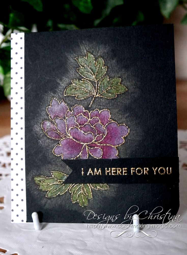 black card... gold embossed stamp and colored with pencils by Christina Griffiths