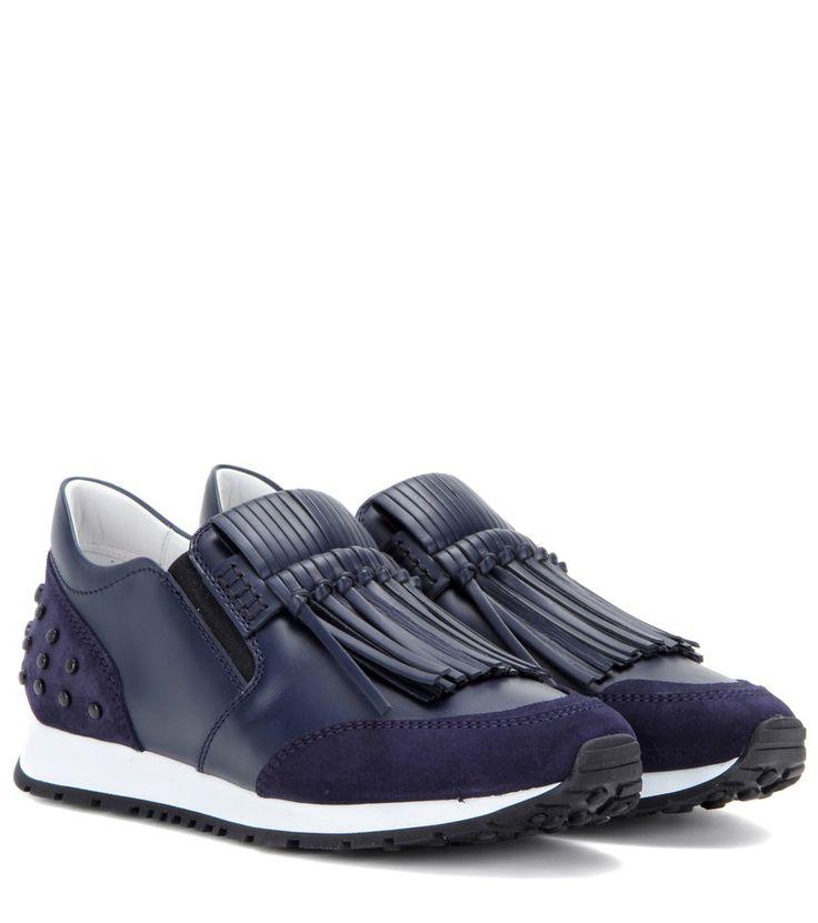 Tod's - Sneaker in pelle e suede con frange -