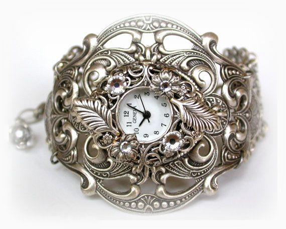 Silver Women Wrist Watch  - Vintage style - Victorian Gothic Steampunk  Watch - Victorian Gothic Jewelry