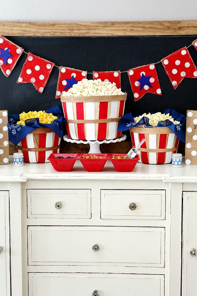 Fourth of July Popcorn Bar - Could do this for any holiday or celebration!