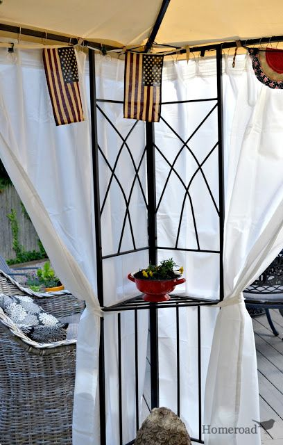 These canopy curtains just work for me. They offer much needed privacy…  http://www.homeroad.net/2013/07/diy-outdoor-canopy-curtains.html