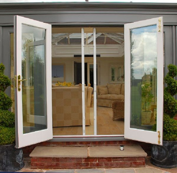 Best 25 french doors with screens ideas on pinterest for Exterior french patio doors