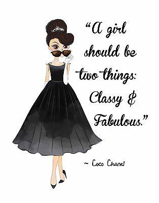 Details about Fashion Pop Art. Woman's Beauty AUDREY HEPBURN w/ Coco Chanel Quote Classy & Fab