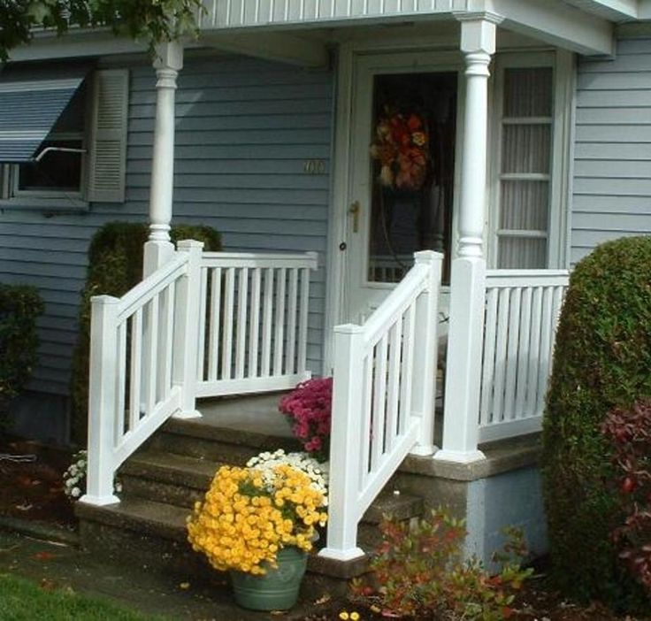 Narrow Front Step Decor With Multi Color Flowering Potted