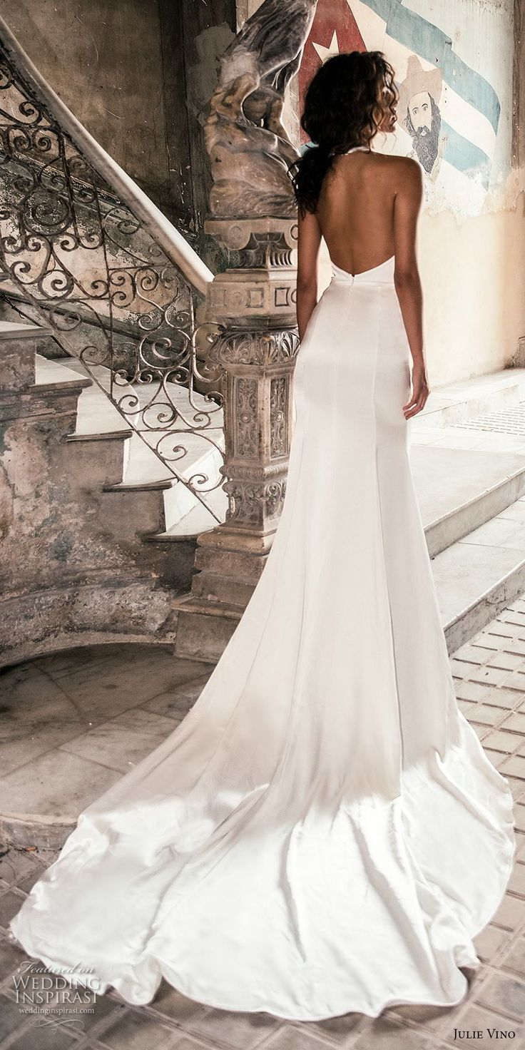 julie vino fall 2018 havana sleeveless jewel halter neck keyhole bodice simple clean elegant sexy chic sheath wedding dress with pockets open back chapel train (8) bv -- Julie Vino Fall 2018 Wedding Dresses