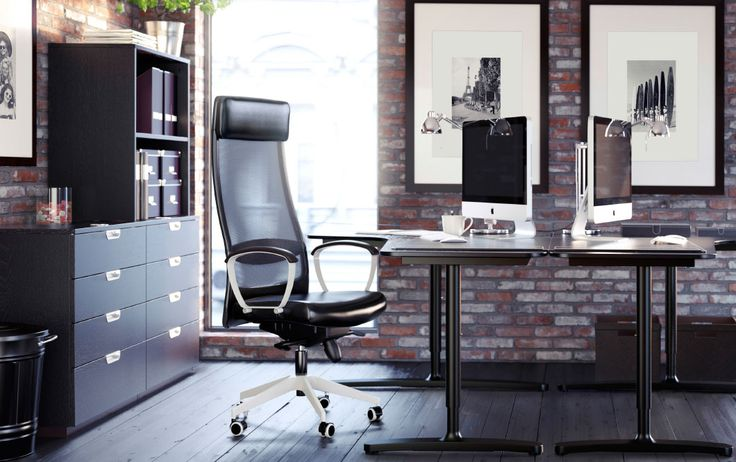 Folding Table Wall Mounted Ikea ~ Büro mit BEKANT Ecktisch in Schwarzbraun Schwarz, MARKUS Drehstuhl
