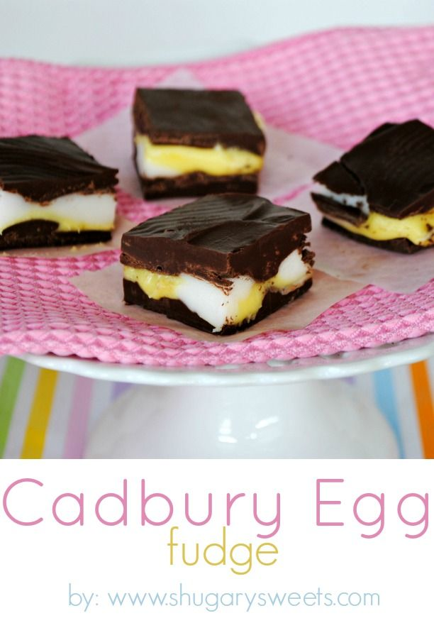 Cadbury Egg Fudge: delicious holiday fudge that tastes just like those Cadbury Eggs!: Desserts, Eggs Fudge, Holidays Fudge, Cadbury Eggs, Easter, Candy, Fudge Recipes, Delicious Holidays, Shugari Sweet
