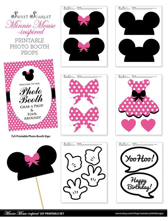 picture about Minnie Mouse Photo Booth Props Printable titled MINNIE Mouse Picture Booth Props within Incredibly hot Red Print your particular