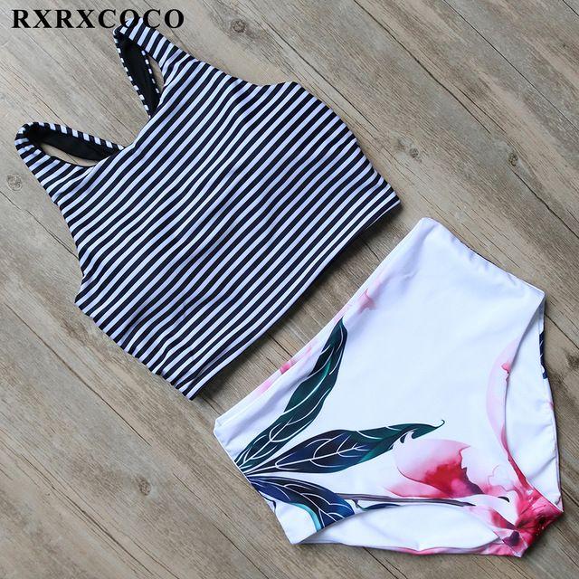 RXRXCOCO High Waist Bikini Set Sexy Padded Swimsuit Women Sport Bikini Summer Swimwear Female Beach Bathing Suit Swimming Wear