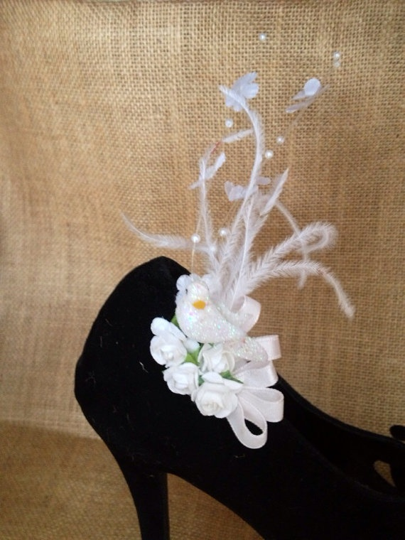 White bird and feather shoe clip fascinator. on Etsy, $45.95 AUD