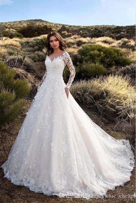 Sexy V Neck Backless A Line Sheer Lace Applique Long Sleeve Bridal Wedding Dress