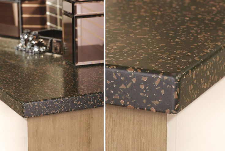 50mm black earth solid surface worktop from Utopia Bathrooms.