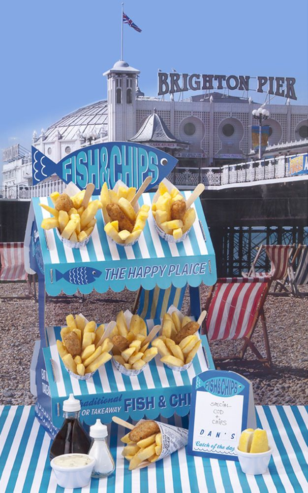 Fish & Chip card Street Food Stall Stand & cones & sign by Talking Tables