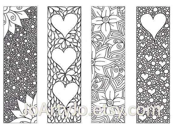 Valentines Bookmarks To Print And Color Zendoodle Printable Bookmarks Zentangle Inspired He In 2021 Coloring Bookmarks Valentines Bookmarks Free Printable Bookmarks