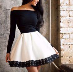Rochie alba cu negru
