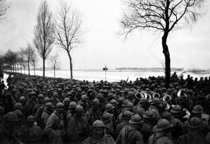 WW1, Sept 1916, Argonne. The regimental band plays on a crowded road. -Frantz…