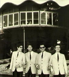 Mike Brant and his band in the 60'S under the Dan Carmel Rondo after they performed at the hotel.