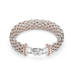 Fopetwin Naos bracelet in Silverfope, rose gold details and clasp