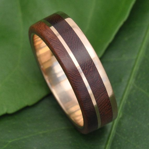 Recycled 14k Yellow Gold Wood Wedding Ring Design: Un Lado Asi by Naturaleza Organic Jewelry, featuring ecofriendly wood wedding bands handmade with recycled metals and sustainable materials.