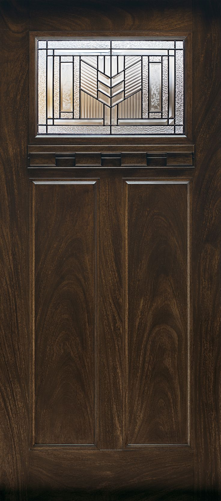 For Craftsman style, look for period details like patterned and leaded-glass lights, along with recessed panels and wood-grain texture. Shown: Feather River factory-finished door, about $530 (prehung); homedepot.com