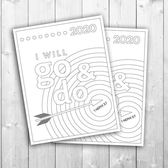 2020 Youth Theme I Will Go And Do Coloring Page Pdf Svg Etsy Youth Theme Lds Youth Theme Lds Coloring Pages
