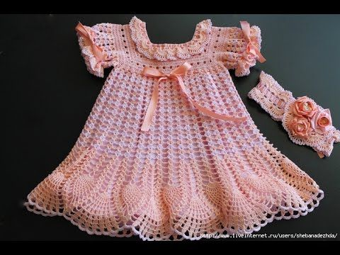 Crochet dress| How to crochet an easy shell stitch baby / girl's dress for beginners 45 - YouTube