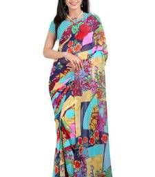 Buy Multicolor printed georgette saree with blouse party-wear-saree online